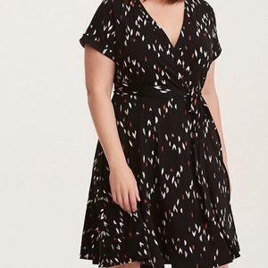 Torrid plus size Wrap Dress black stretchy